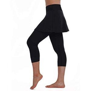 Legging Jupe de Tennis Femme Filles BasiqueCouleur unie, Taille Élastique Skinny Mince Pantalon Sport Yoga Pilates Danse Fitness Golf Course 7/8 Pantacourt, Casual Jambières Capri Grande Taille