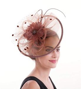 Lucky Leaf Femmes fille Bibis & cheveux Clip épingle chapeau plume mariage Cocktail Tea Party Hat (8-Rouge Coffee)