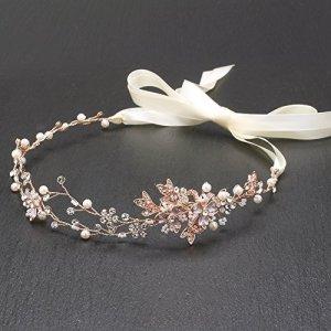 Mariell Or rose Perle d'eau douce et cristal de mariage ruban Bandeau Cheveux Vine