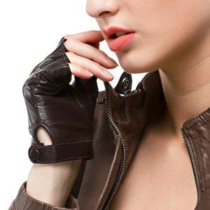 Nappaglo Gants en cuir femme pour conduire Doeskin Demi doights Moto Cycle Gants sans doigts (S (périmètre de la paume:17.6cm), Brun)