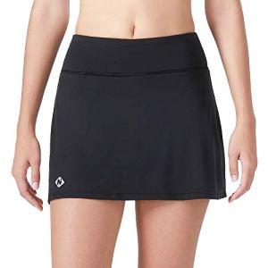 NAVISKIN Femme Légère Active Short De Jupe avec Poches Intérieurs pour Workout Casual Danse Fitness Yoga Jogging Noir Taille XXL