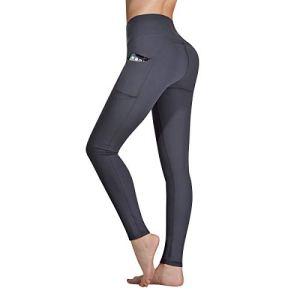 Occffy Legging de Sport Femme Pantalon de Yoga avec Poches Yoga Fitness Gym Pilates Taille Haute Gaine DS166 (Gris foncé, M)