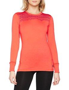 Odlo Shirt l/s Crew Neck Natural 100% Merino sous-vêtements Femme, Hot Coral-Pickled Beet, m