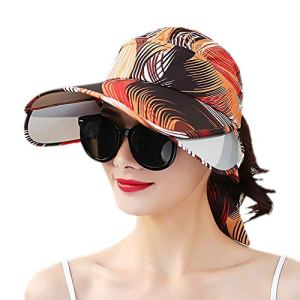 Scrox. 1pcs Femme Chapeau Plage Bonnet Voyage Grand Bord Casquette à Visière Anti-Soleil Chapeau été Pliable(Orange)