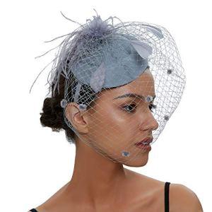 Soxtome Chapeaux pour Femme avec Plumes et Voile en Maille pour Mariage/Cocktail/fête – Gris – Taille Unique