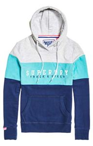 Superdry Track & Field Lite CB Hood Sweat-Shirt À Capuche, Bleu (Blue Fade Qhp), Small (Taille Fabricant: 10) Femme