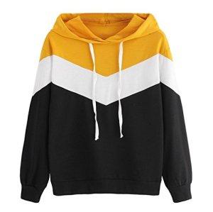 Sweatshirt Femme Imprimé, LMMVP Femmes Automne Occasionnelles Patchwork Manche Longue Sweat à Capuche Pullover Sweat-shirt Chemisier (L, Noir)