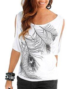Uniquestyle Femme Col Rond Épaules Manches Courtes Tee Shirt Top Haut Imprimé Plume Taille Loose Blanc S
