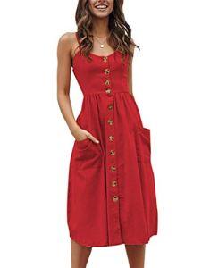 Walant Robes pour Femmes mi-Longue à Bretelles Ete Tie Front Col V Manches Courtes Bouton A-Line Sexy Robe Plage d'été Casual Chic Vintage Floraux, Rouge 3, M