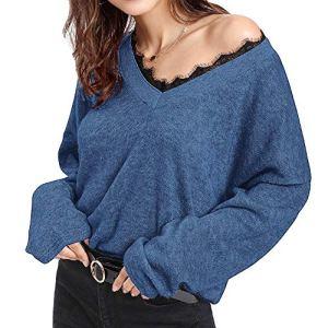 Amlaiworld Femmes Sweater Col V en Tricot Pullover Top Blouse Chemise Manche Longue Chandail Lâche