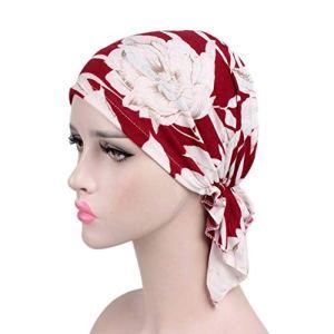 Amorar Chapeau de Chimio, Femmes Écharpe en Coton Turban Bandana Foulards Tête Bonnet Hijab Hairband pré-attaché de Perte de Cheveux Bandeau élastique pour Le Cancer