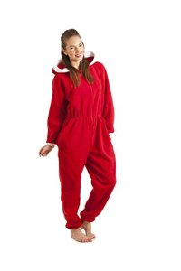 Combinaison pyjama à capuche en polaire – Père Noël – femme – rouge – taille 38 à 52 42/44