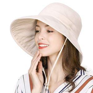 Comhats Chapeau de Pluie imperméable à Large Bord avec Sangle au Menton réglable – Beige – Medium
