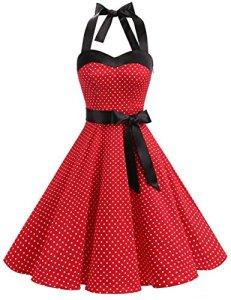 DRESSTELLS, Version3.0 Vintage 1950's Audrey Hepburn pin-up Robe de soirée Cocktail, Style Halter années 50 à Pois, Rouge L