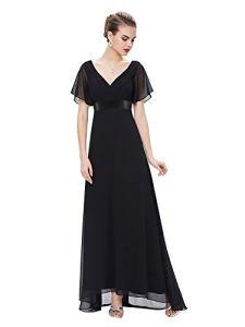 Ever-Pretty Robe de Soirée Longue Femme Col V Manches Courtes 40 Noir
