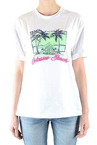 Fendi Femme Mcbi36564 Blanc Coton T-Shirt