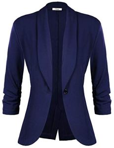 iClosam Veste Femme Blazer Chic De Costume Casual Slim Tailleur À Manches 3/4 Un Bouton, Bleu Foncé, L
