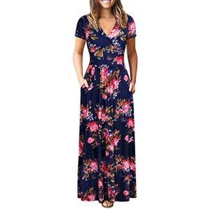 LILICAT Les Femmes à la Mode la Taille du Vent National était Mince été Bohème Tunique Floral Party Beach Long Robe Maxi Robe M-3XL