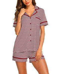 MAXMODA Ensemble De Pyjama Femme Pyjama Ouvert T-Shirt Top Manches Courtes avec Short 2 Pcs avec Short Vin Rouge M