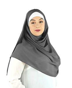 SAFIYA – Hijab foulard à enfiler pour femme I Turban pret a porter voile musulmane pashmina bonnet châle islamique paillettes abaya I Mousseline premium I Gris foncé