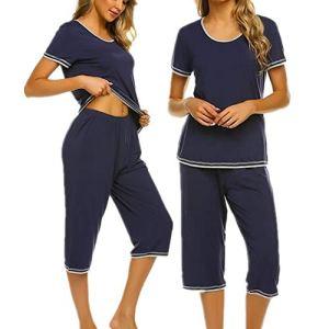 UNibelle Femme Ensembles de Pyjama Vêtements de Nuit T-Shirt imprimé avec Pantalon été Bleu Marine XXL
