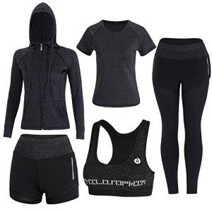 Zetiy Femmes 5 Pièces Ensembles Sportswear Yoga Gym Tenues Survêtement (Noir, X-Large)