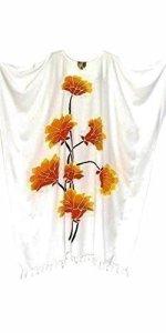 Cool Kaftans Lotus Fleur Plage Caftan à Coole Femme Longue Femmes Vacances Fleurs d'été et Nouvelle White