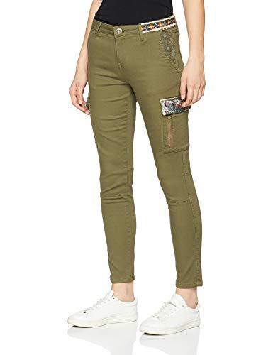 Desigual Pant_Narcissus Pantalon, Vert (Kaki 4092), 38 Femme
