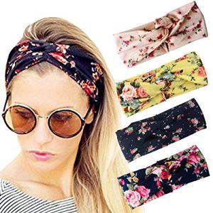 DRESHOW Femmes 4 Pack Bandeaux de fleurs Vintage 1952 pour femmes La tête de bandeau de turban élastique de torsion enveloppe des accessoires mignons de bande de cheveux