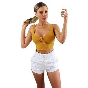 feiXIANG Femme Tank Top Chic Débardeurs Ete Haut Dentelle Top avec Nœud T-Shirt Élégant sans Manche Chemise Blouse Fille Fashion Printemps Soiree Veste