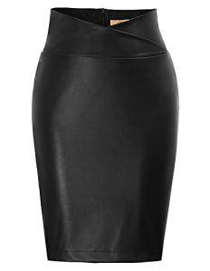 GRACE KARIN Jupe Femme PU Jupes en Cuir Elastique Jupe Courte Taille Haute Jupe Crayon Hanche Noir M CL05-1