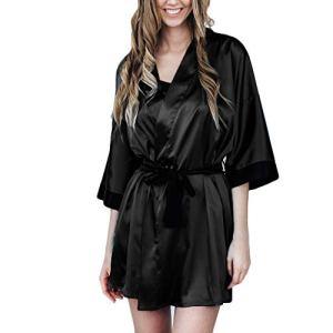 iLPM5 Robe de Chambre Femme Sexy 2019 Nouveau Automne Hiver Chaud sous Vetement Lâche Grande Taille Couleur Unie Casual Chic Robe de Nuit Pas Cher Manches Longues Peignoirs(Noir,XXL)