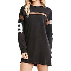 QIYUN.Z Femmes Noires Imprimes Baseball T-Shirt Manches Longues epissage Robe Mini-Jupe, Noir, Small