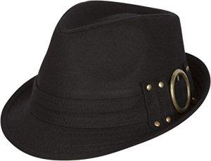 Sakkas 104FL Chapeau Fedora Laine Sammy Structured – Noir – Taille Unique