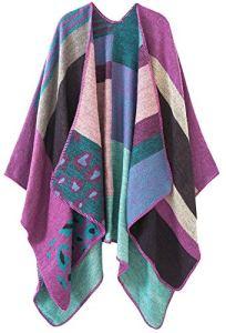 Shmily Girl Femme Cape Poncho Extra Large écharpe Châle Blanket Poncho Automne Hiver (One Size, Leopard/Purple)