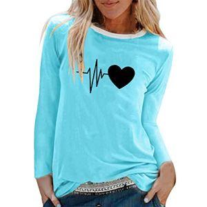 T-Shirt Femme Pas Cher Manches Longues Imprimé Tops Loose Casual Tee Shirt Grande Taille Col Rond Haut Blouse Youngii(Bleu Ciel A,3XL)