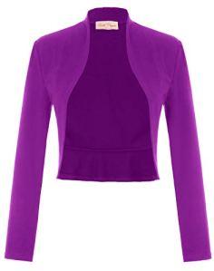 Veste Blazer Femme Business Vintage Manche Longue en Coton Violet X-Large