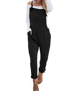 ACHIOOWA Salopette Femme Combinaisons De Playsuit Occasionnels Barboteuses Ample Harem Sarouel Casual Jumpsuit Pantalon Noir 2XL