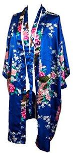 CCcollections Motif Paon et Fleurs, 16 Couleurs différentes, Lingerie, Nuisette, Robe de Chambre, Demoiselle d'honneur, Enterrement de Vie de Jeune Fille (Bleu Royal (Royal Blue)), taille unique