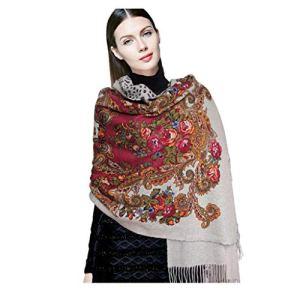 Châles Cachemire écharpe Mesdames Automne et Hiver écharpes modèle Classique Mode Gland Femelle Longue épaisse écharpe Chaude boîte-Cadeau (Color : Beige, Size : 210 * 75)