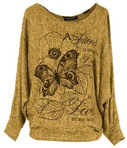Emma & Giovanni – T-Shirt imprimé Papillons – Femme (S/M, Moutarde)