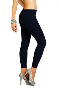 FUTURO FASHION – Legging Long d'hiver – très Chaud/épais – Coton/Doublure Polaire – Tailles 36 à 50 – P28 – Bleu Marine – 40 (L)