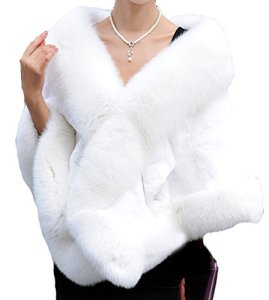 Helan Femmes Doux Rex Lapin Fourrure Chale avec Real Renard Fourrure Collier Blanc