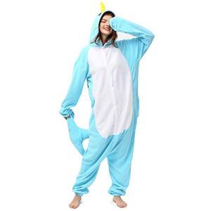 Katara-1744 Pyjama Combinaison animal, Unisex Adult, Vêtements De Nuit, 1744-a-112, Baleine Bleue, Taille 175-185cm