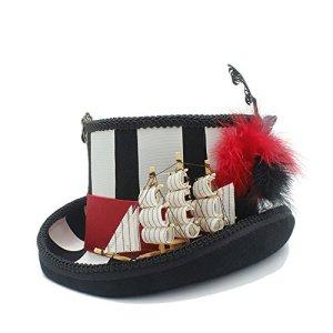 PANFU-DY Bonnet Steampunk avec Chapeau 100% Laine Cosplay Pirate for Femmes (Couleur : Noir, Taille : 61CM)