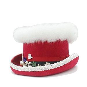 PANFU-DY Bonnet Steampunk avec Chapeau Rouge et Vert for Femme en Laine for Noël (Couleur : Rouge, Taille : 61CM)