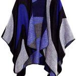 Shmily Girl Femme Cape Poncho Extra Large écharpe Châle Blanket Poncho Automne Hiver (One Size, Motif en Vagues/Bleu Marine)