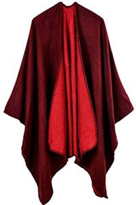 Shmily Girl Femme Cape Poncho Extra Large écharpe Châle Blanket Poncho Automne Hiver (One Size, Vin Rouge)