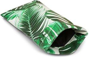 styleBREAKER Étui pour lunettes de soleil avec imprimé palmiers et chiffon de nettoyage, étui avec fermeture à cliquet, unisexe 09020086, couleur:Vert-blanc