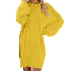 VANMO Robe Femme Tricot Pull Col Roulé Chic à Manches Longues Hiver au Crayon Top Femme Elegant Hauts Basique sous-Mini-Robe Uni Pull-Over Tunique Moulante